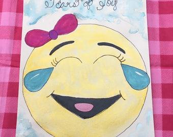 """Original signed watercolor emoji painting """"Tears of Joy"""" kids art"""