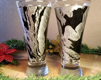 Hand painted pilsner glass set