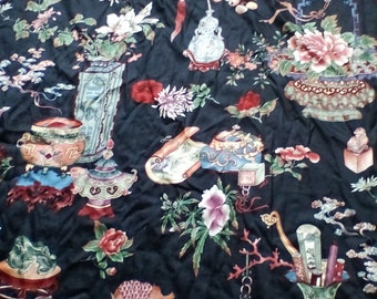 Large Vintage Oriental toile curtain ~ fabric ~ sewing projects