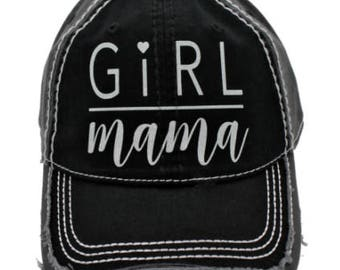 Girl Mama Grey and Black Distressed Baseball Hat