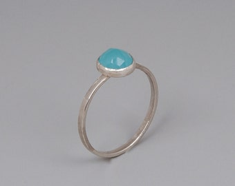 Minimal Stone Ring, Sterling Silver Ring, Gemstone Stacking Ring, Tiny Thin Ring, Personalized Ring, Blue, Pink, White, Rose Quartz, Opalite