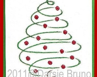 O Christmas Tree Paper Embroidery Pattern for Greeting Cards