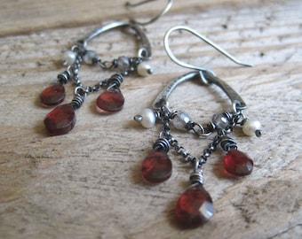 Garnet Labradorite Pearl Earrings, Chandelier Earrings, Sterling Silver Earrings, Holiday Jewelry, Statement Earrings, Cocktail Earrings
