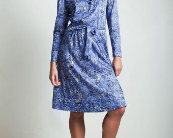 vintage 80s psychedelic secretary dress blue paisley print belted LARGE L