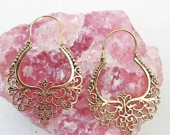 Indian Hoop Earrings, Tribal Earrings, Brass Earrings, Boho Earrings, Festival Earrings