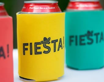 Three pack Fiesta beer can cooler trio - Taco Tuesday - stocking stuffer - cinco de mayo - party favors
