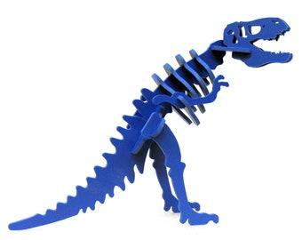 Dinosaur Puzzle, Dinosaur Toy, MINIATURE 3D Dinosaur Skeleton Puzzle, Recyclable PVC Tyrannosaurus Rex, T-rex Toy Puzzle, BLUE