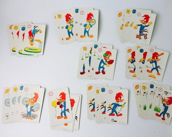 Vintage 60s Woody Woodpecker Card Game by Fairchild Corp/Vintage Rummy Cards/Vintage Card Game/60s Card Game/Paper Ephemera/Woody Woodpecker
