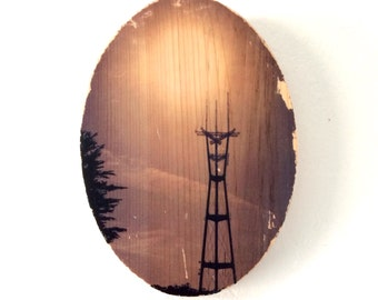"""Sutro Tower Glow - 5x7"""" Oval Distressed Photo Transfer on Wood"""