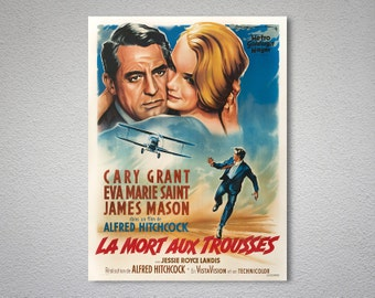 La Mort aux Trousses Movie Poster, Cary Grant - Poster Paper, Sticker or Canvas Print / Gift Idea