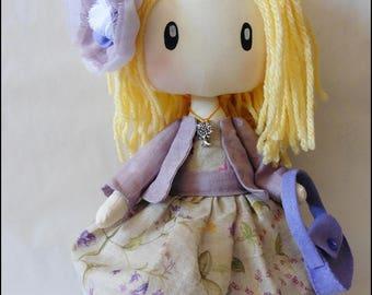 Soft doll, decorative doll, handmade doll, textile doll, Violet, muñeca soft, muñeca de tela, soft doll, mimizuku art