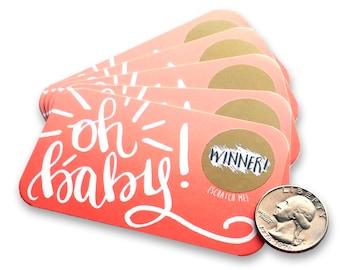 Oh Baby! - Baby Shower Scratch Off Game - Scratcher Card Game - Baby Shower Prizes - Baby Girl - Baby Shower Games - Pink - Baby Bingo