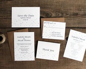 confetti polka dot wedding invitation SAMPLE SET - 50 save the dates, invitations, response cards, reception cards, programs, thank you card