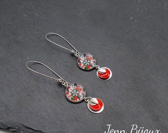 Earrings silver red/multicolor floral pattern with sequins enamelled ref: BOA112