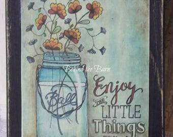 Enjoy the Little Things Sunflower Mason Jar Print Block