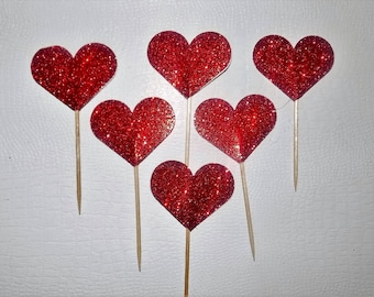 Hearts Cup Cake Toppers, Wedding Cup Cake Toppers, Heart Cup Cake Toppers, Valentines Cup Cake Topper, Birthday Topper,