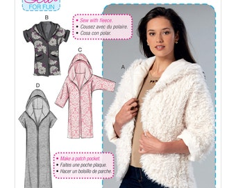 Sewing Pattern for Misses' Open-Front Jackets Shawl Collar Hood, McCall's Pattern 7511, NEW PATTERN,Learn to Sew, Plus Sizes