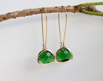 Emerald Earrings - Gold Dangle Earrings - Stone Earrings - Drop Earrings - Birthstone Earrings - Green Earrings  - Emerald Jewellery