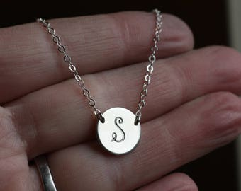 Silver Disc Necklace, Dainty Initial Necklace, Sterling Silver Jewelry, Personalized Initial Charm Necklace, Initial Necklace