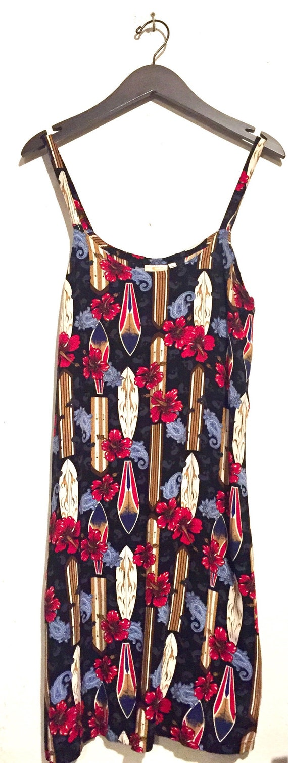 90s Vintage Surf Board Hawaiian Floral Print Tank Dress medium dr58671
