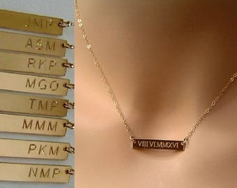 Roman Numeral Necklace, Gold Bar Necklace, Silver Gold filled Bar necklace, Custom Wedding Date Bar Necklace, Personalized Name Bar