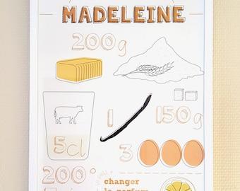 """Affiche design  - Recette """"Madeleine"""""""