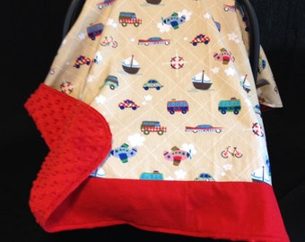 Car Seat Canopy/ Car Seat Cover/ Transportation, cars, trucks, boats, planes, red, beige