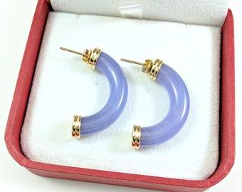 Vintage Lavender Jade Earrings 14k Gold Thick Half Hoop Earrings with Posts Purple Jade Tube-Like 1.25 Inch Long Yellow Gold Earrings