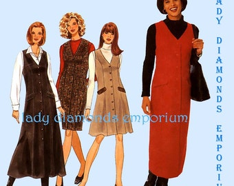 A) Simplicity 7759 Womens Straight or Flared Semi-Fitted Jumpers Mini Midi Maxi 6 8 10 12 or 12 14 16 18 Vintage Sew Pattern Uncut FF #480