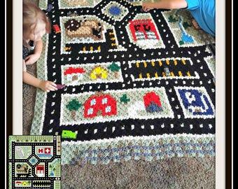 C2C Graph, City Play Mat Afghan C2C Crochet Graph and Written Word Chart