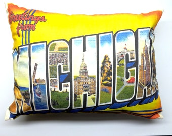 Greeting From Michigan Vintage Design Pillow Cover with Pillow