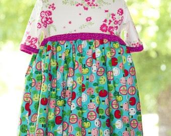 Babydoll Dress, Girls Dress, Toddler Dress, Girl Dress, Apple Dress, Knit dress, Dress for Girls, 4T Dress, T-Shirt Dress, 3T Dress