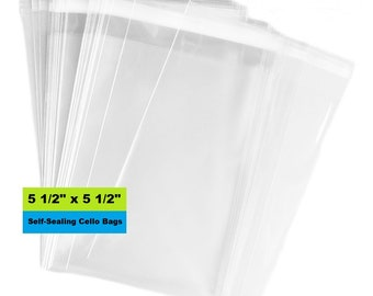 "Cello Bags, 5-1/2"" x 5-1/2"" Self Sealing Bags, Clear Cellophane Bags, Resealable, Poly Bags, Plastic Packaging, Product Packaging"