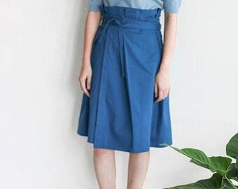 Dylan Skirt -cobalt blue cotton twill paperbag waist skirt