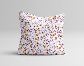 "Throw Pillow Case - Watercolor Throw Pillow Cover - Home Decor Cottage Decor ""Prairie Flowers"" Purple Watercolor Pillow Case 16x16 | 20x20"