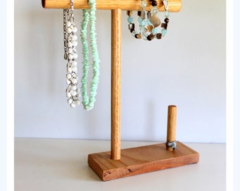 Wooden Jewelry Organizer, Mens Jewerly Rack, Necklace Holder, Ring Dish, Craft Show Display, Bracelet, Hair Bow Tree, Retail Man Watch Rack
