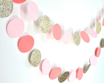 Pink Coral Gold 10ft Paper Garland, Birthday Party Decor, Wedding Shower Decor, Nursery Decor