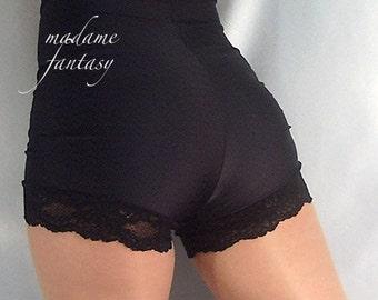 High waisted black spandex shorts hot pants lace trim goth