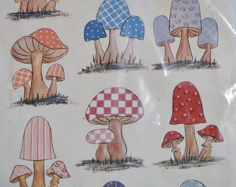 Retro Calico Mushrooms Design Craft Paper Decoupage Craft Supplies PanchosPorch