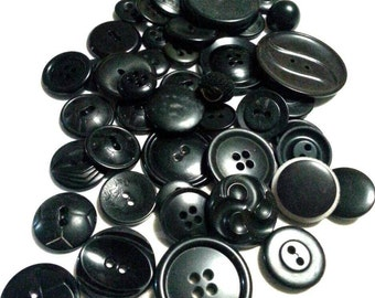 LOT6: 50 Vintage Black Buttons