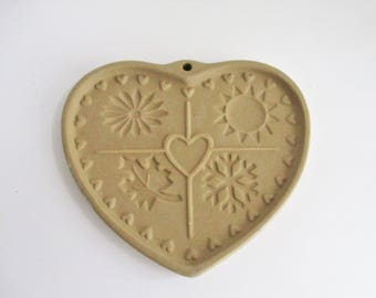 Vintage Cookie Mold Pampered Chef Seasons of the Heart Clay Mold