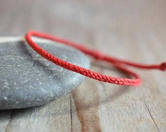 Braided red string bracelet, red bracelet kaballah, men bracelet red extra waxed