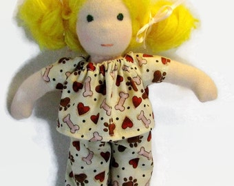Doll clothes, thin 8 inch waldorf doll PJs, waldorf doll pajamas, slim doll clothes, small tiny doll clothes, doggy doll PJs, handmade