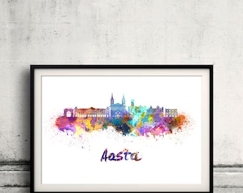 Aosta skyline in watercolor over white background with name of city - Poster Wall art Illustration Print - SKU 2073