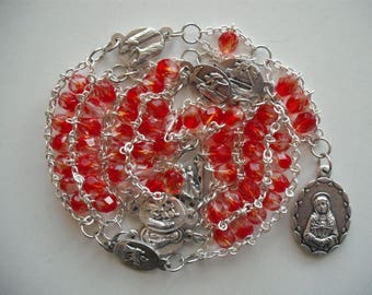 Red and Crystal Seven Sorrows Ladder Rosary