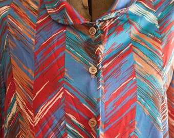 Vintage Blouse - Fun Colorful Abstract  Geometric 70s Polyester