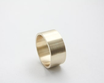 Brushed Ring in 10k Yellow Gold / Large Gold Ring / Wide Ring / Brushed Ring / Gold Wedding Ring / Yellow Gold band / Large Gold band / Gold