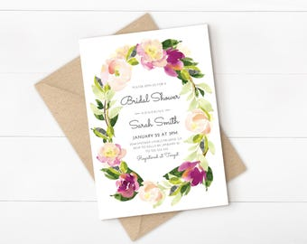 floral bridal shower invitation watercolor flower purple bridal shower invite printable invitation