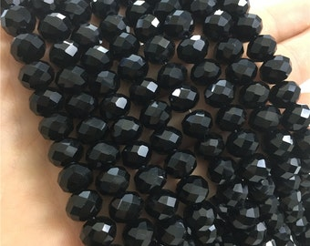 10x8mm Faceted Black Glass Beads, Glass Rondelle beads
