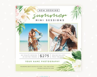 Summer Mini Session Template, Summer Mini Sessions, Marketing Board, Photoshop Template, Photography Marketing Set, PSD, tropical floral